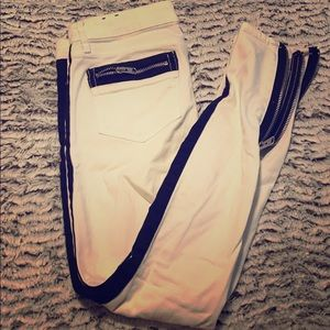 Express White and Black Stripe Jeans
